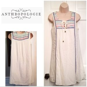 Anthropologie Solitaire white embroidered dress